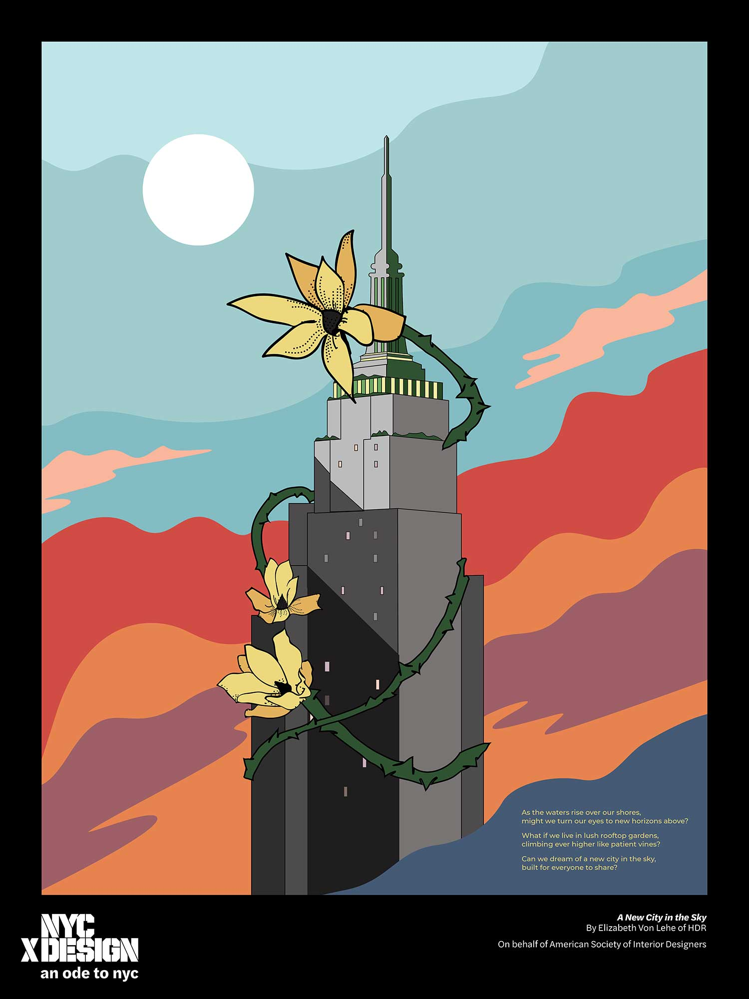 ode to nyc empire state building poster
