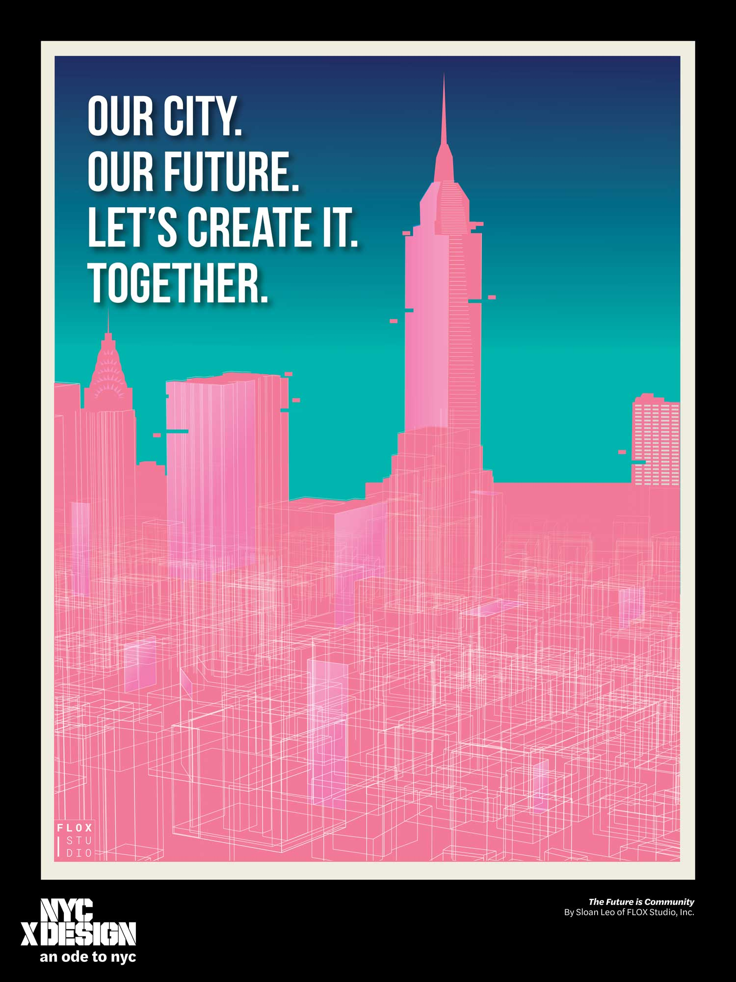 ode to nyc pink teal poster with skyline