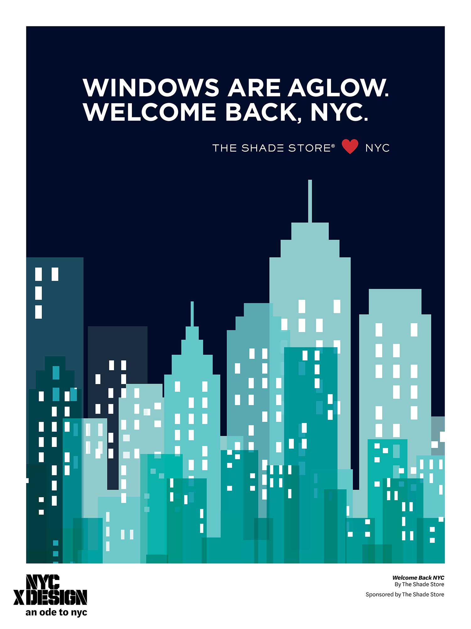 ode to nyc skyline poster