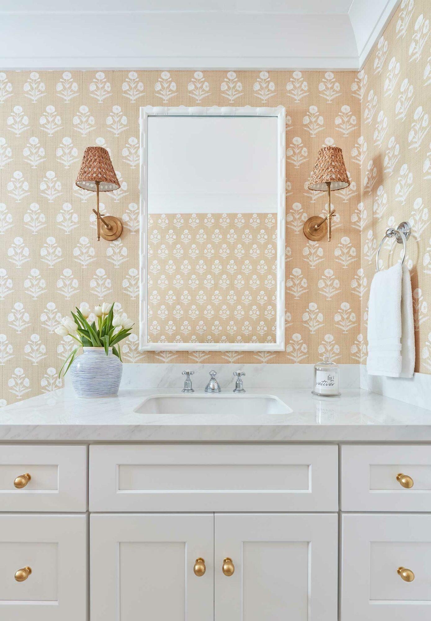 kara miller bathroom white vanity peach wallpaper